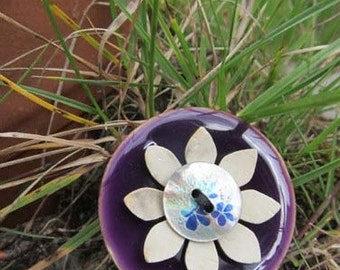 Purple button brooch