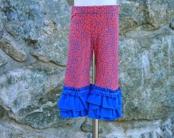 Knit Ruffle Capri Upcycled Size 3 Pink and Blue