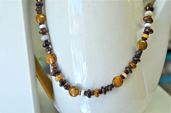 Men's Necklace , Natural Stone Necklace for Men , 20 inches long, Agate and Garnet Necklace