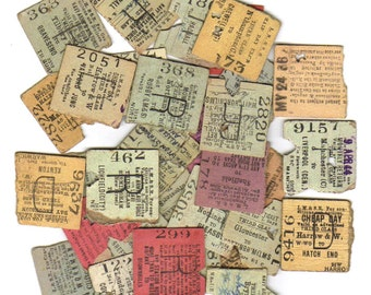 8 Used VINTAGE railway tickets from UNITED KINGDOM - British antique Ticket Set