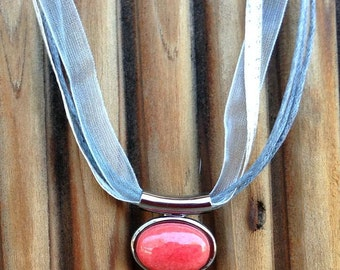 Silver Gray and Coral Necklace