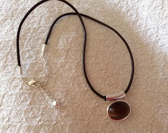 Silver and Brown Cabochon Necklace