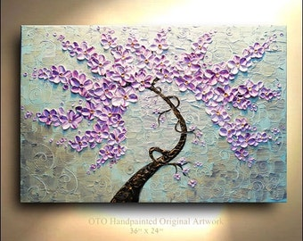 Abstract Painting Purple Pink Aqua Blue metallic Gold Flower Tree painting on canvas thick impasto texture ready to hang wall decor By OTO