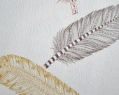 3 Feathers Back to Nature Art Print 8 x 10 Brown Gold Rust Color