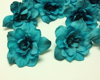 Silk Flowers - 10 Delphinium Blossoms in Turquoise Aqua Blue Green - 3 Inch Size - Artificial Flowers