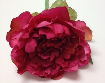 One FUCHSIA Peony ON STEM - 6 Inches - Artificial Flowers, Silk Flowers, Millinery, Flower Crown, Flower Arrangement, Wedding