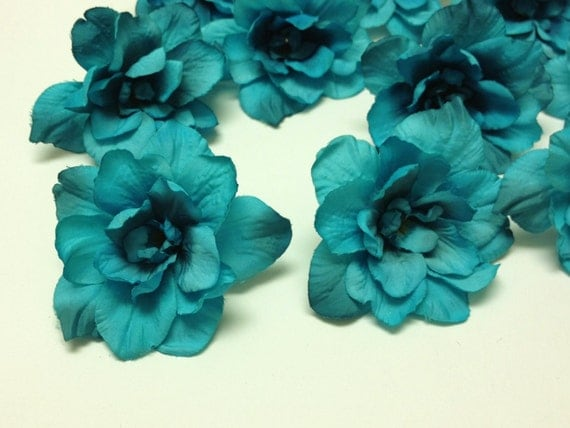 Silk Flowers 10 Delphinium Blossoms In Turquoise Aqua