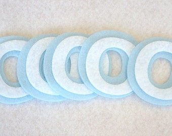 Lot of 5 shadow Letters - Os - Pale Blue