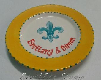 Personalized Fleur De Lis Plate