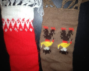 Vintage Set of 2 Childrens Scarves Scarf Brown Cowboy and Red and White with Silver Sparkle