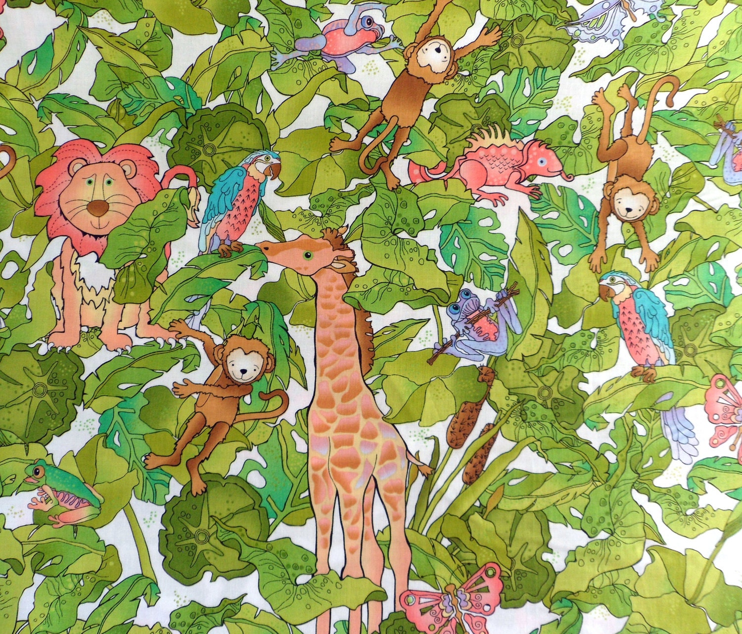 Jungle fabric kid 39 s fabric cotton fabric rjr sewing supply for Childrens jungle fabric