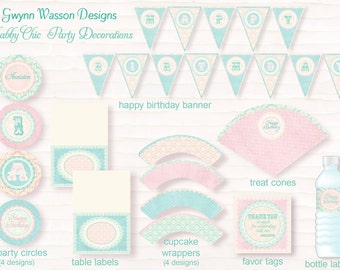 Shabby Chic Party Decorations - PARTY PACKAGE - Shabby Chic Party Collection - Teal and Pink - Gwynn Wasson Designs PRINTABLES