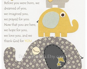Elephant Nursery Art Decor, Elephant Print, Baby Elephant Nursery Decor, Elephant Wall Art // Before You Were Born // Gray Yellow
