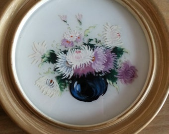 Vintage Circular Wall Hanging Hand Painted on Glass Mums In Vase 1960s Flowers