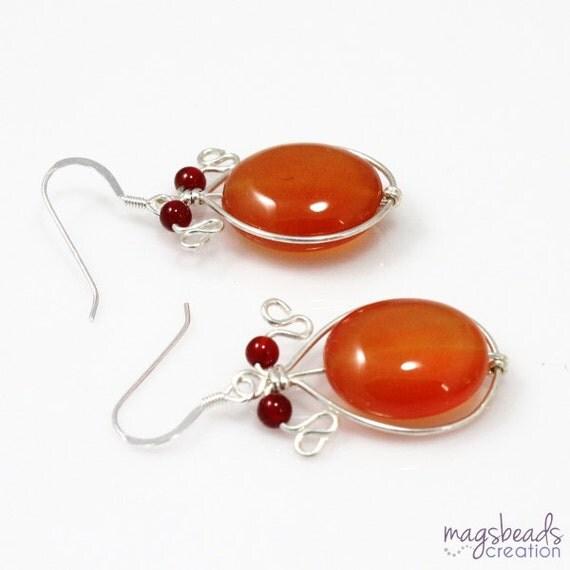 Carnelian Earrings, Wire Wrap Earrings, Wirewrapped Earrings, Summer Jewelry, Hot Red, Burnt Orange Red Carnelian Jewelry