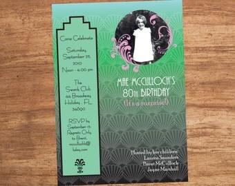 Art Deco Birthday Shower Wedding Custom Photo Invitation Printable Digital File