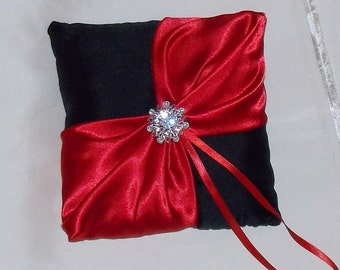 Wedding ring bearer pillow red and black satin
