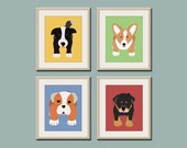 Dog prints Dog Art. Puppy nursery art prints Any 4 prints. Baby nursery decor kids art. Kids wall art. Kids decor, puppy dogs by WallFry