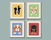 Dog prints Dog Art. Puppy nursery art prints Any 4 prints. Baby nursery decor kids art. Kids wall art. Kids decor, puppy dogs by WallFry
