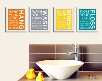 Bathroom art prints. Bathroom Rules. Kids bathroom wall quotes. Wash Brush Floss Flush. Typography. SET of ANY 4 washroom prints by WallFry