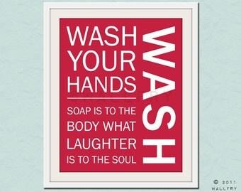 Bathroom art. Kids Bathroom rules. Bathroom prints bathroom art. Typography.  Wash print by WallFry
