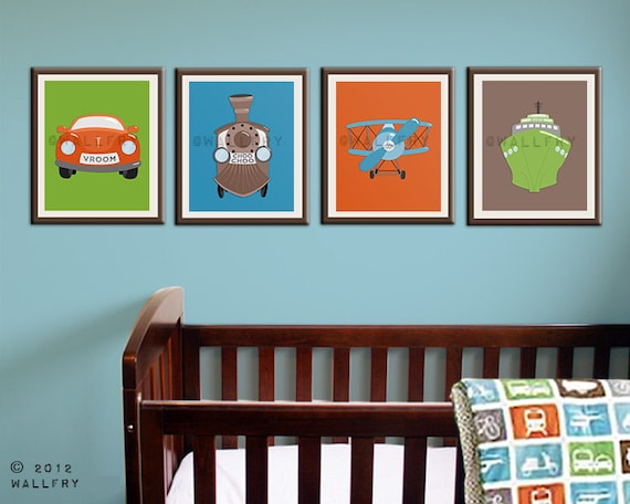 Nursery Wall Decor Transportation : Transportation prints boys wall art for nursery and playroom
