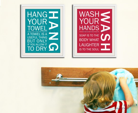 Bathroom art prints. Bathroom Rules. Kids bathroom wall quotes. Wash Brush Floss Flush. Typography. SET OF 2 prints by WallFry