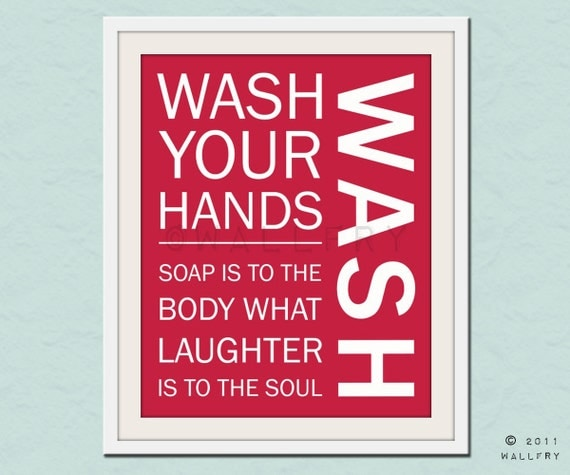Bathroom art. Kids Bathroom rules. Bathroom prints bathroom art. Typography.  Wash print by WallFry
