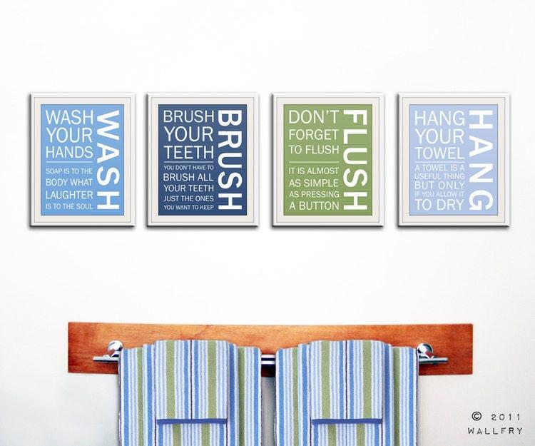 Brush Your Teeth Quotes: Bathroom Art Prints. Bathroom Rules. Kids Bathroom Wall By
