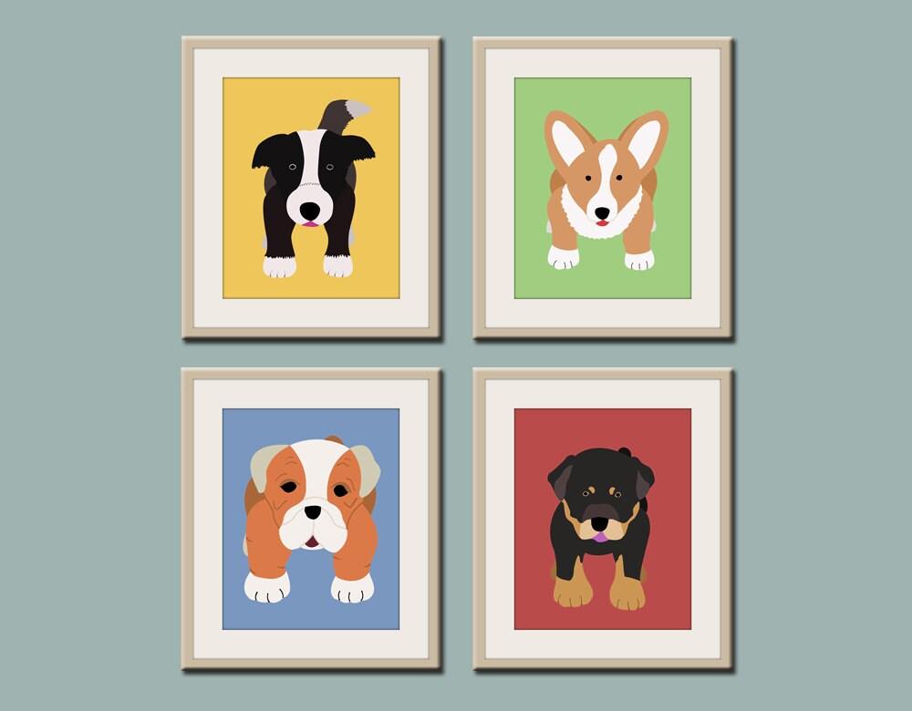 Dog prints dog art puppy nursery art prints any 4 prints for Kids wall art