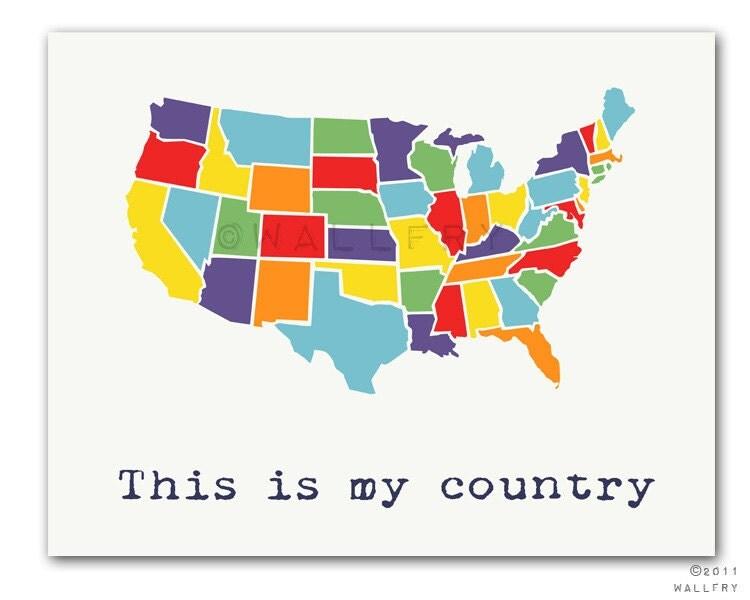USA Map Nursery Decor Us Map For Kids Playroom Decor World - Map of us kids