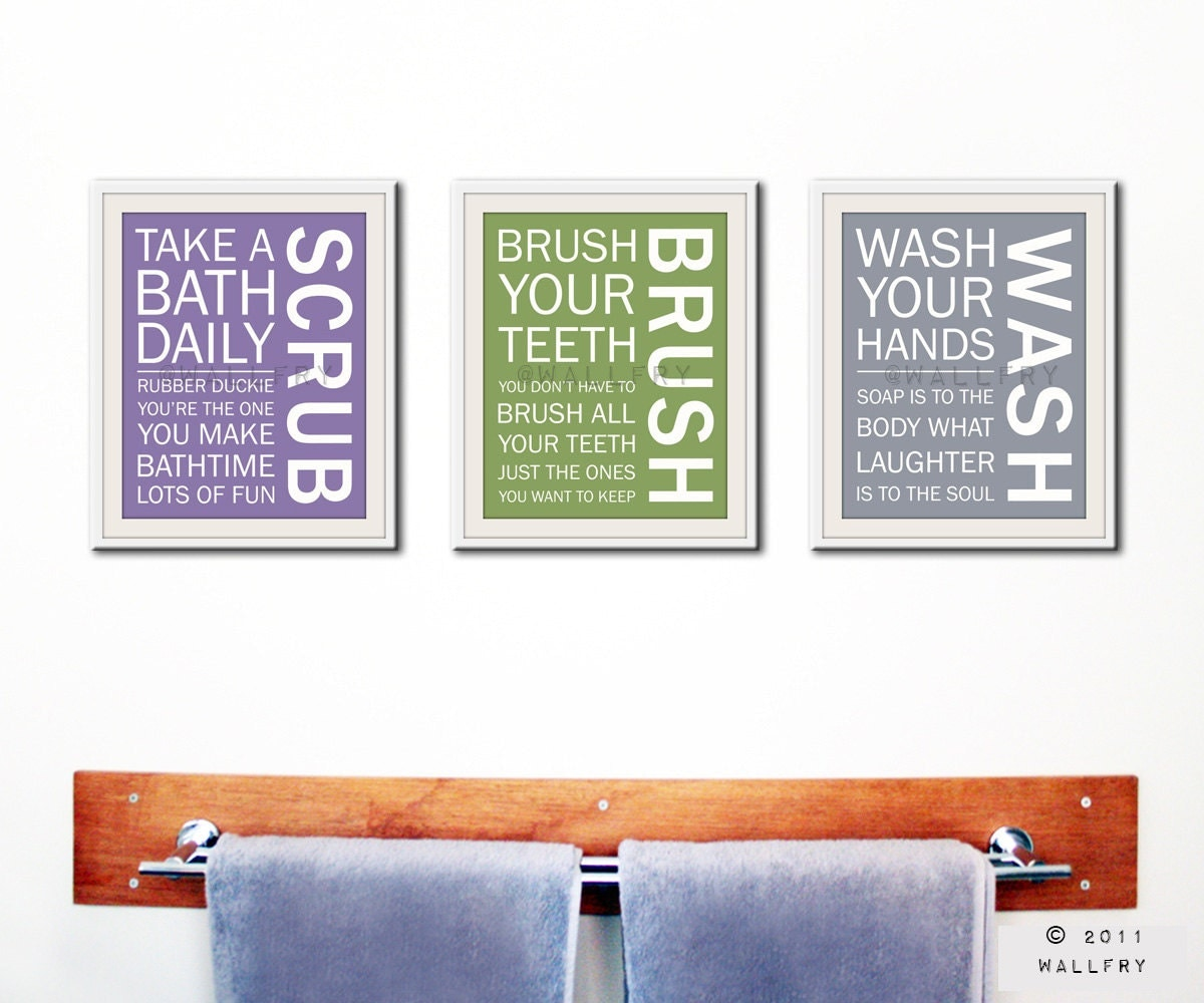 Bathroom Typography Art: Bathroom Decor. Kids Bathroom Rules. Bathroom Prints Bathroom