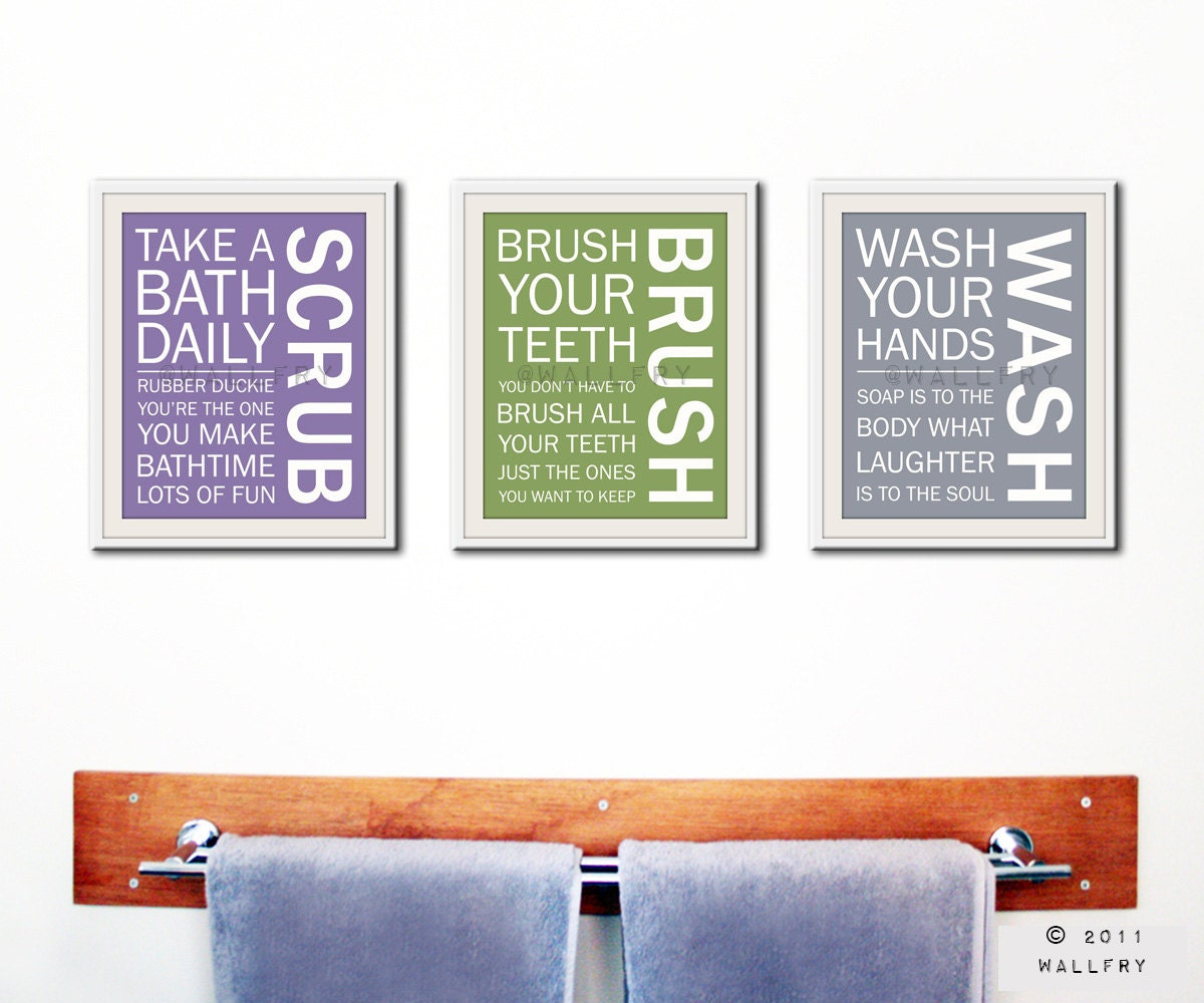 Bathroom decor kids bathroom rules bathroom prints by for Bathroom decor etsy
