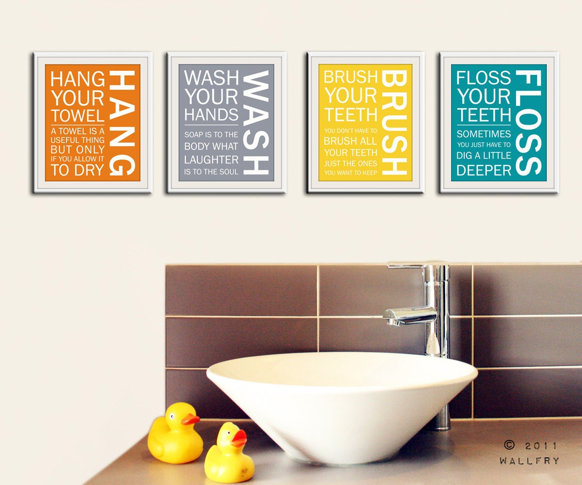 Bathroom art prints bathroom rules kids bathroom wall for Bathroom wall pictures