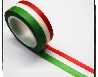 Stripe Washi Tape Full Roll 15mm WT264 - flag of Italy green, white, red