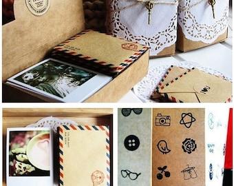Korea DIY 60 mini Kraft paper envelopes/ 60 cards / 60 sealing sticker stickers sets