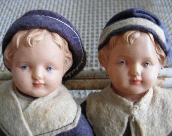 Antique Pair French Sailor Dolls
