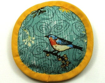 Catnip Toy, Marigold and Aqua Cat Pillow, Bird Cat Toy, Cat Bird Toy, Round Cat Pillow, Bird on a Branch,  BIRD 'N SWIRLS