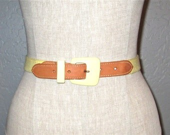 Vintage 80s skinny belt BUTTERCREAM YELLOW and brown leather - S