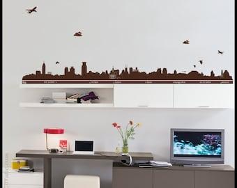 SHANGHAI WALL DECAL : The Bund skyline in Shanghai, China, Asia decor, vinyl, sticker, birds, planes, clouds
