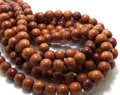 Bayong Wood, 8mm, Round,  Smooth, Small, Natural Wood Beads, 16 Inch Strand - ID 1379
