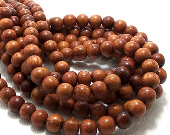 Bayong Wood, 8mm, Round,  Smooth, Small, Natural Wood Beads,  Full 16 Inch Strand, 50pcs - ID 1379