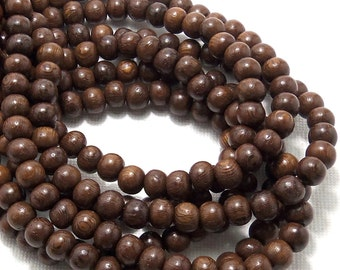Robles Wood, Round, 6mm-7mm, Smooth, Small, Natural Wood Beads, Full 16 Inch Strand, 70pcs - ID 1405