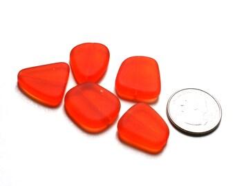Orange Glass Large Freeform Beads. Orange Sea Glass Flat Freeform Beads. 18-22mm Freeform Pancake Beads. Perfect Beads for Necklace // B83LF