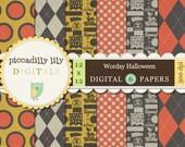 Instant Download - Wordsy Halloween -- 12x12 Digital Printable Scrapbook Paper Pack -- Buy 3 Digital Paper Packs Get 1 FREE