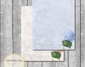 Instant Download -- Hydrangea Digital Printable Notebook Journal Stationery Lined Paper Set 8.5x11 -- Self-Print