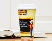 Teacher Gift Custom Travel Mug - Personalized Teacher Appreciation Tumbler - Ceramic To Go Mug with Lid - Back to School School Gift Eco Cup