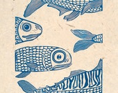 linocut print, With the tide, fish in blue on handmade Nepalese textured paper