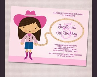 Pink Cowgirl Birthday Party Printable Invitation - Print your own