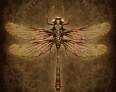 Steampunk Dragonfly - Art Print - Brigid Ashwood